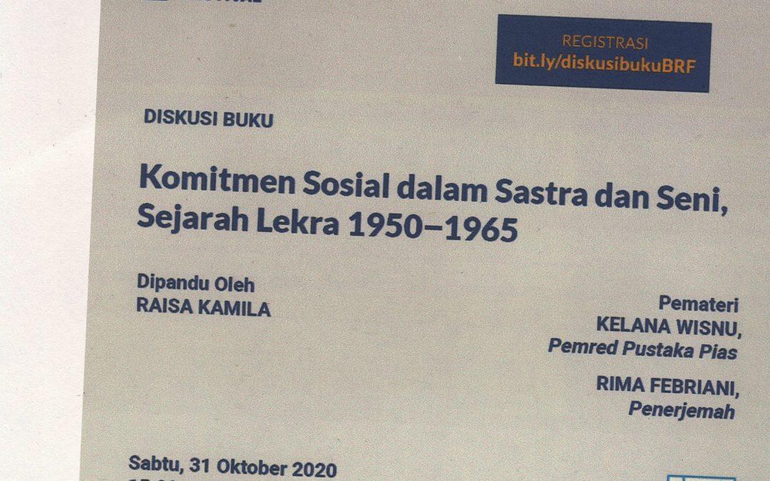 Diskusi Buku Komitmen Sosial dalam Sastra dan Seni: Sejarah Lekra 1950–1965bersama Bandung Readers Festival